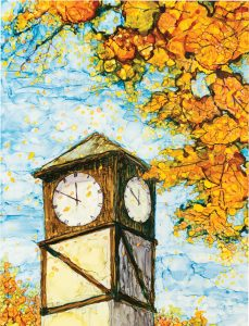 Highland City Hall Clock Tower: Reprint of original artwork by Patricia Ballwin using alcohol inks on tiles.