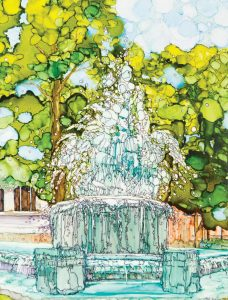 Highland Fountain on the Square: Reprint from original artwork by Patricia Ballwin using alcohol inks on tiles.